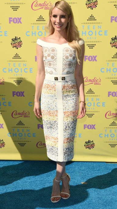 Emma Roberts white patterned dress