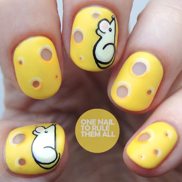 Mice and cheese nail art
