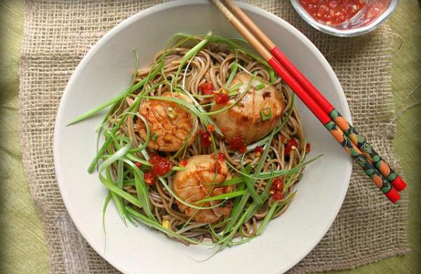Ginger-scallion scallops with soy-citrus soba noodles