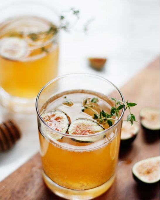 Spiked Apple Cider Recipes for All Your Fall Parties: sparkling fig honey cocktail