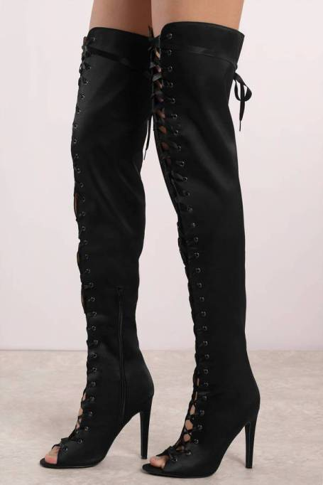 Best Pairs of Over-the-Knee Boots: Rebel Rebel Lace Up Thigh High Boots | Fall and Winter Fashion 2017