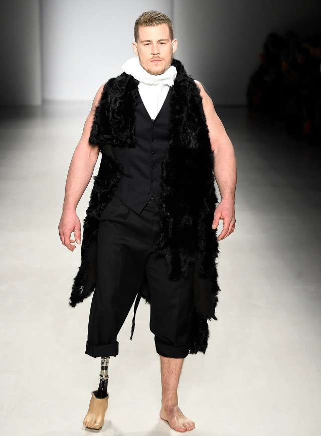 Male model with prosthetic leg