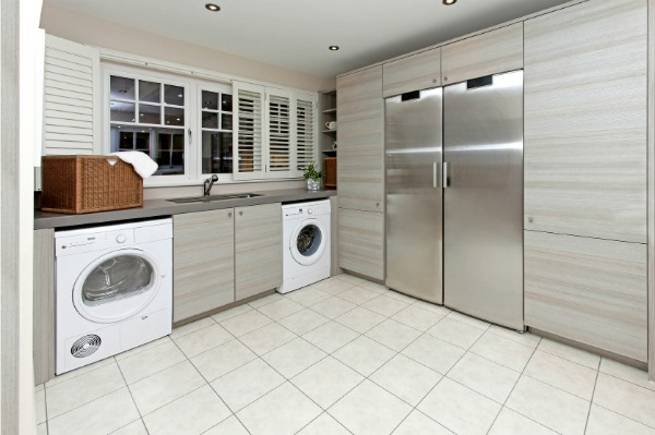 sleek modern laundry room