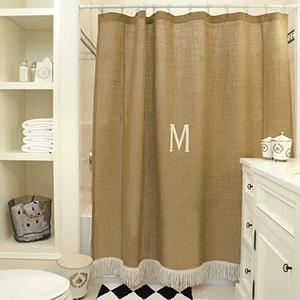 Burlap shower curtain with bullion fringe,