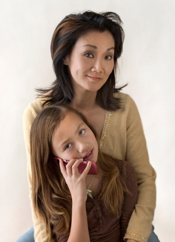 Mom and Daughter with Cell Phone