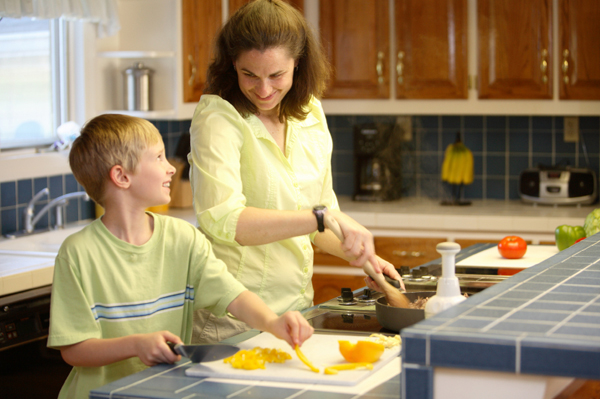 Mom and son cooking