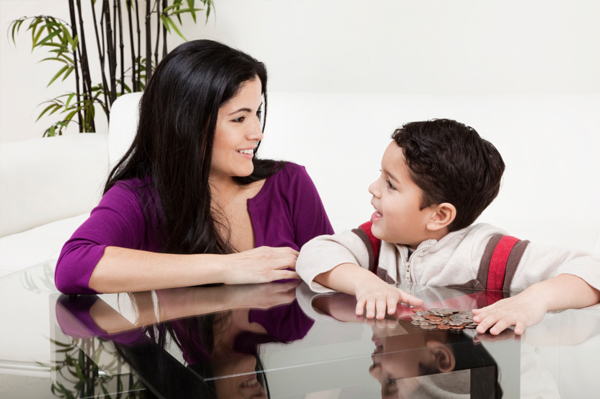Mom and son couting change