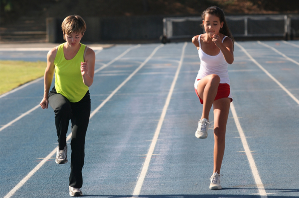 Mom and tween running