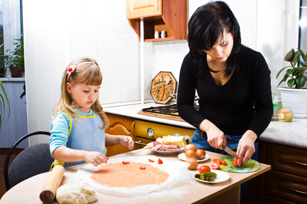 Mom and daughter making pizza