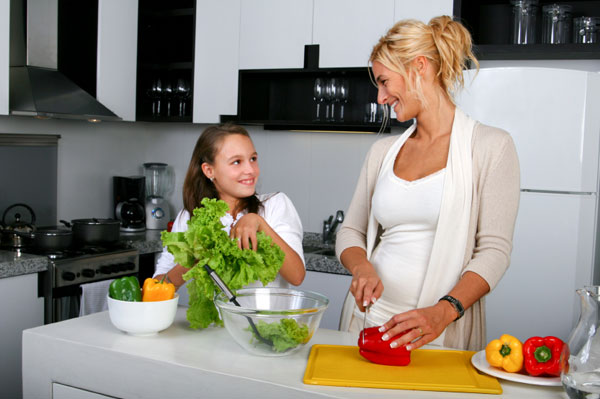 Mum and daughter in kitchen