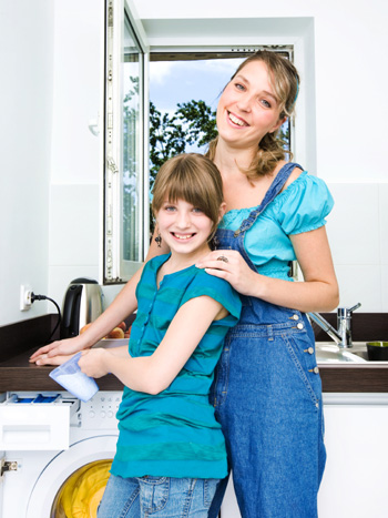 Mom doing chores with daughter