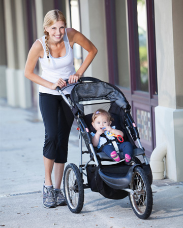 New mom running with stroller