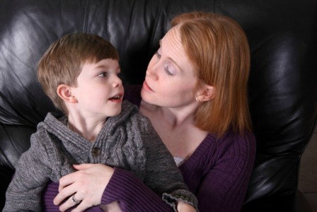 Mom talking to young son about sexism