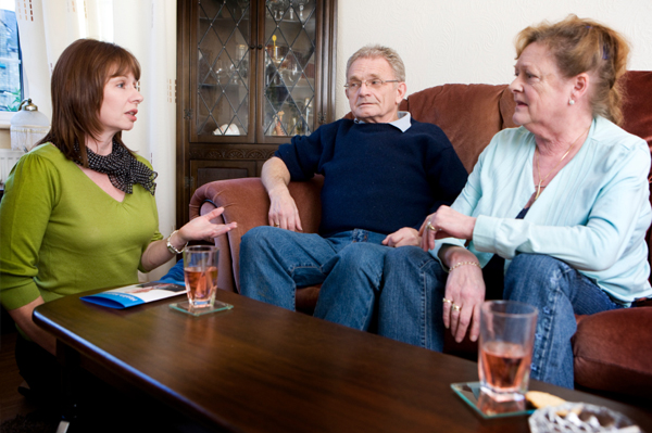 Mom having talk with older parents