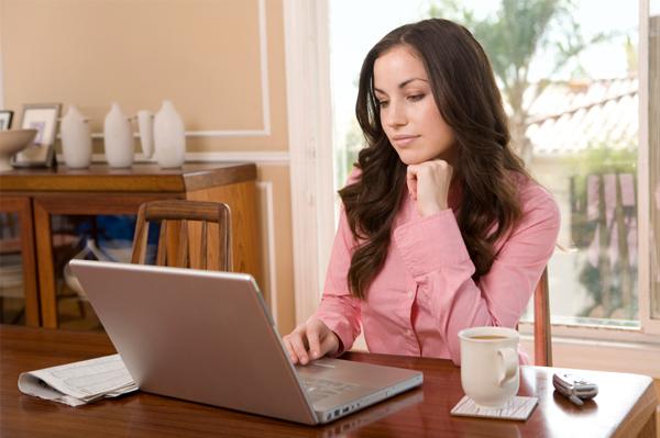 Woman looking at blog