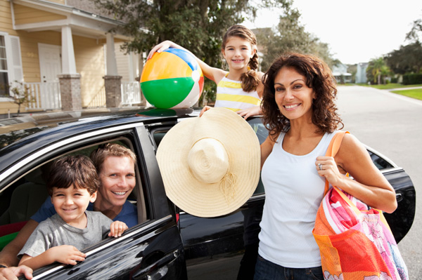 Family going on road trip to beach