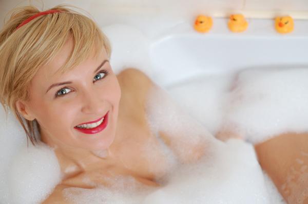 Mom taking relaxing bath