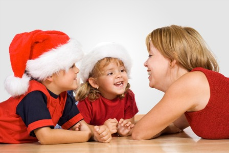 Mom talking to kids about Christmas