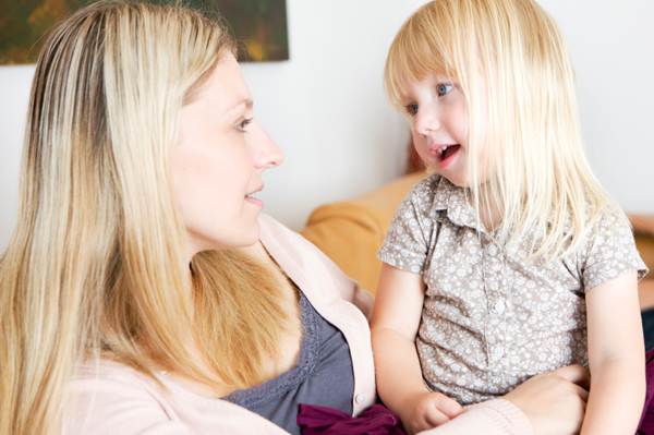 mom talking to daughter about being an only child