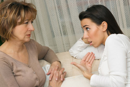 Mom arguing with teen daughter