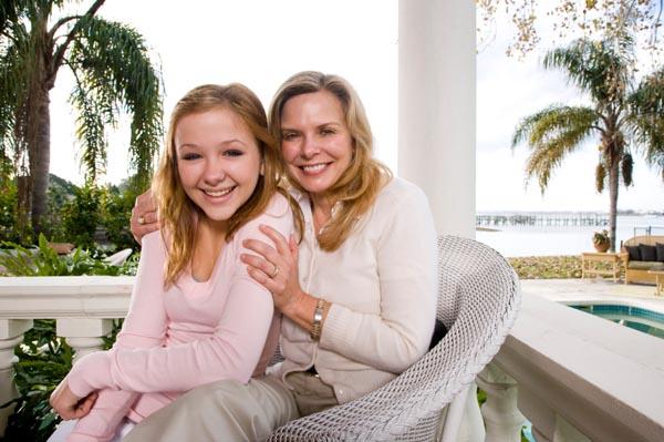mom and teen at hotel