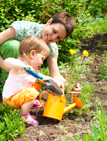 Mom and toddler gardening
