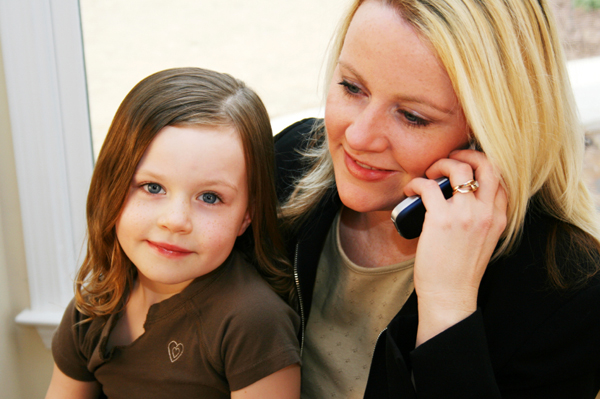 Mom with Daughter at Work