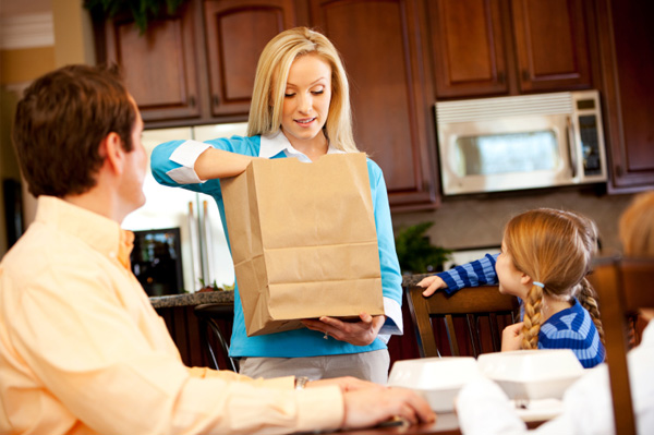 Mom with takeout food