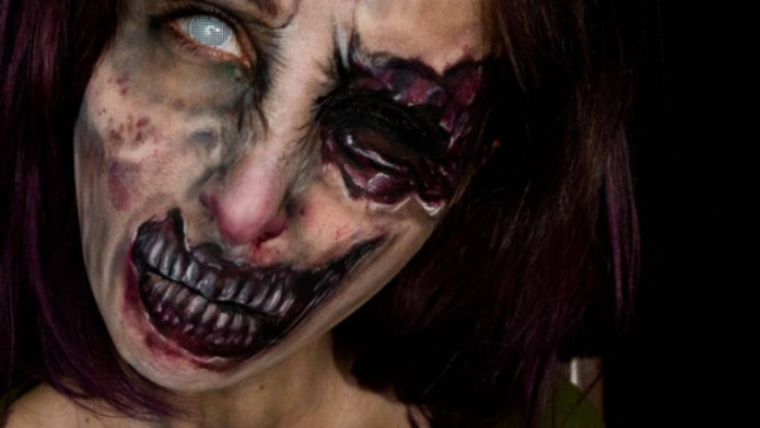 Woman turns herself into the scariest