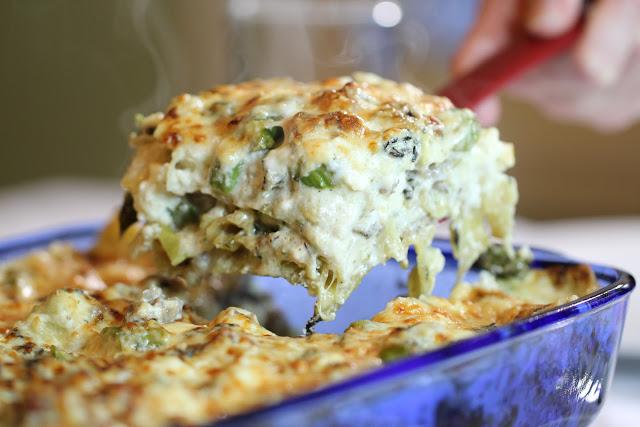 morel and asparagus lasagna