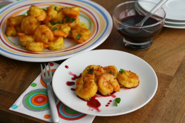 Moraccan-style Shrimp with Pomegranate Dipping Sauce