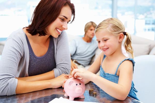 Child with savings bank