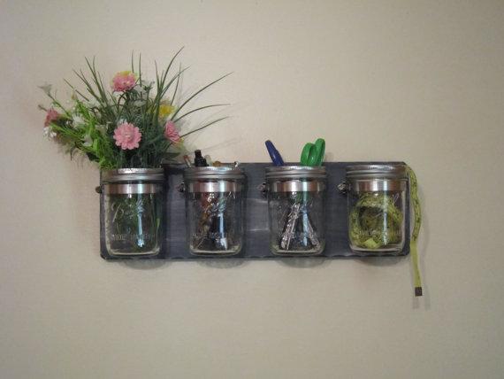 mason jars mounted to reclaimed wood