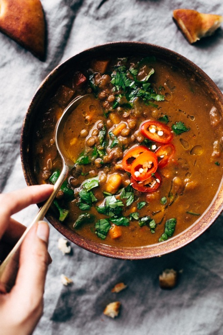 Moroccan Sweet Potato Lentil Soup recipe