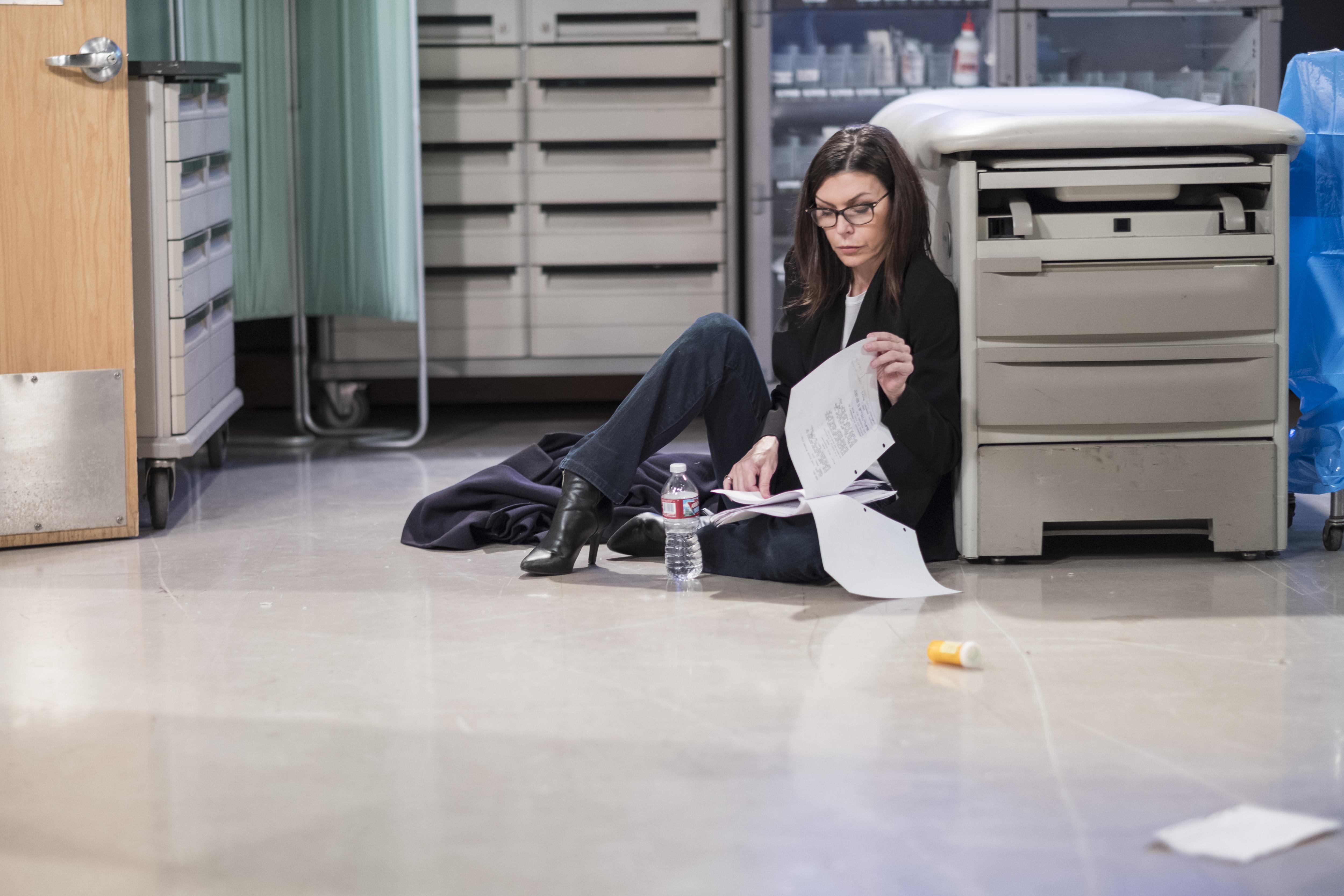 Finola Hughes on set at General Hospital