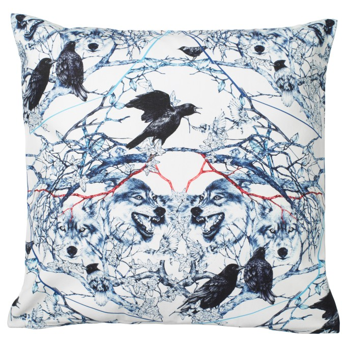 Halloween Decor at IKEA: This wolf and raven cushion cover is definitely a little terrifying