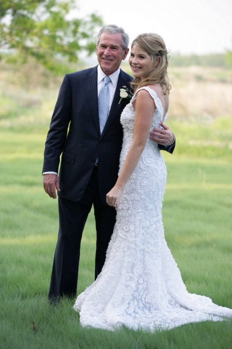 President George W. Bush and Jenna Bush pose for a photographer prior to her wedding