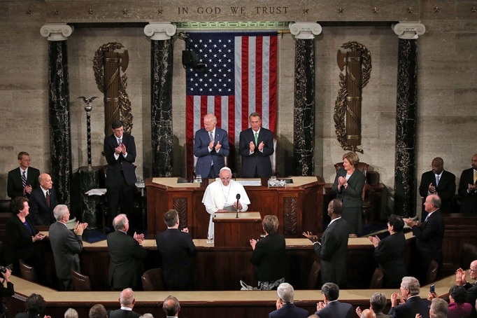 Pope Francis after his speech in a joint meeting of the U.S. Congress