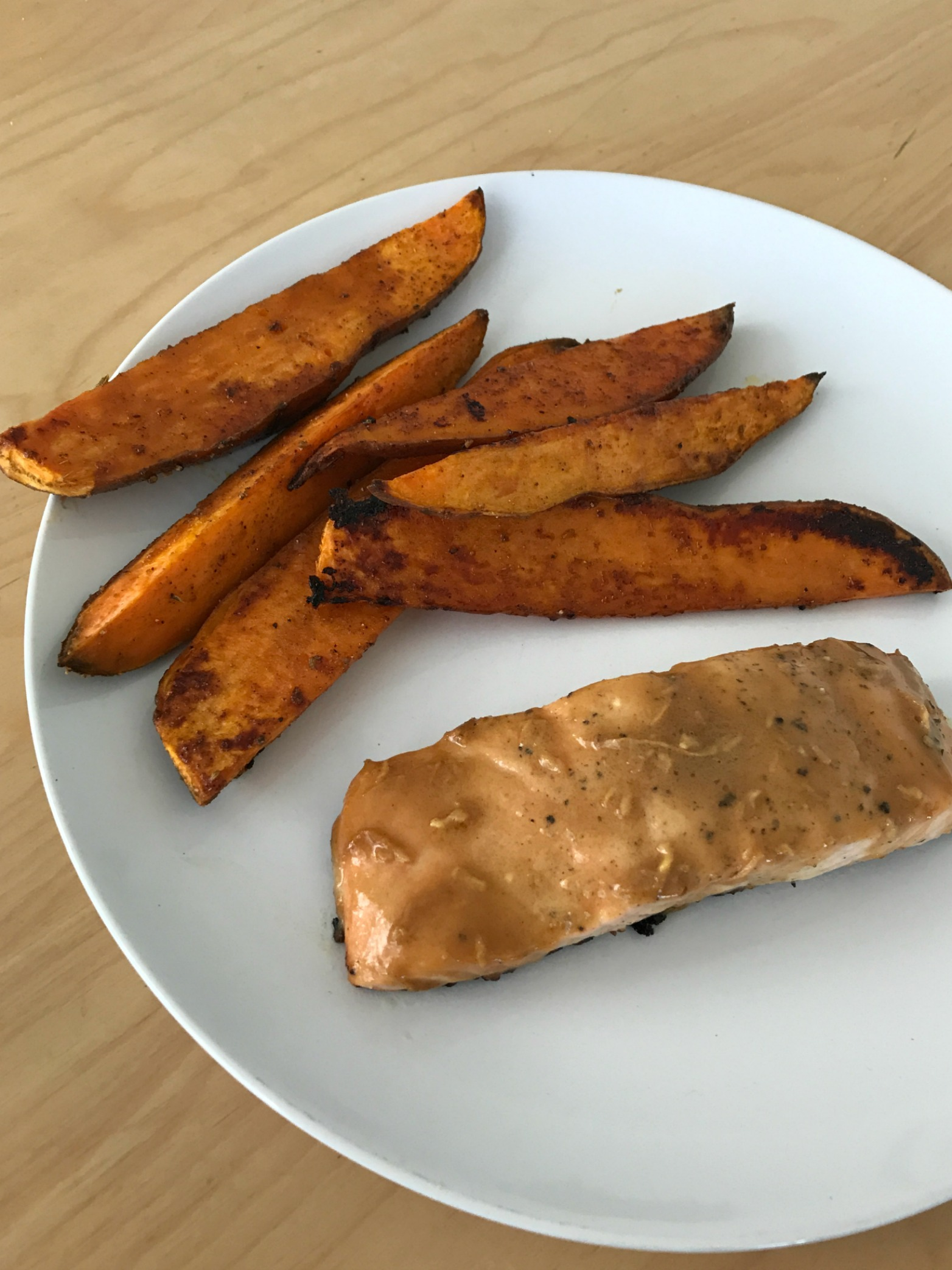 I Tried Cooking Like Bobby Flay For a Week: Mustard and Brown Sugar Salmon; Seasoned Sweet Potato
