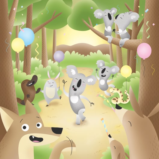 Illustrated koala bears and other woodland creatures rejoicing