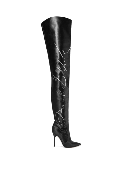 Fall Boots To Shop Before They Sell Out: Vetements + Manolo Blahnik Printed Thigh Boots | Fall Fashion Trends 2017