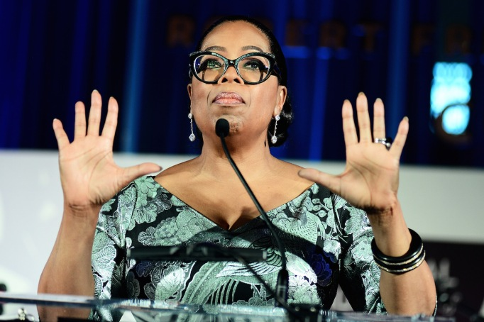 Oprah giving a speech on stage