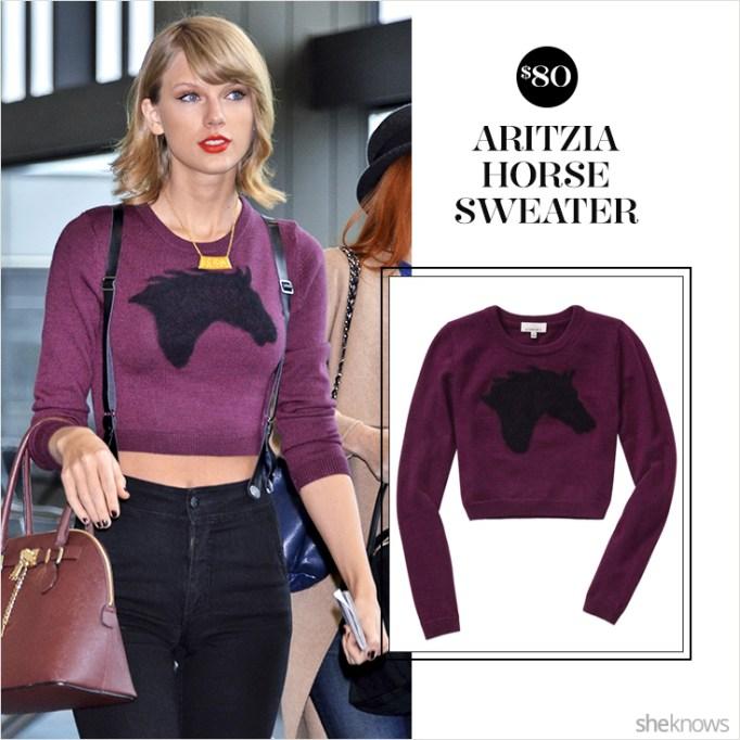 Taylor Swift in Aritzia purple horse sweater