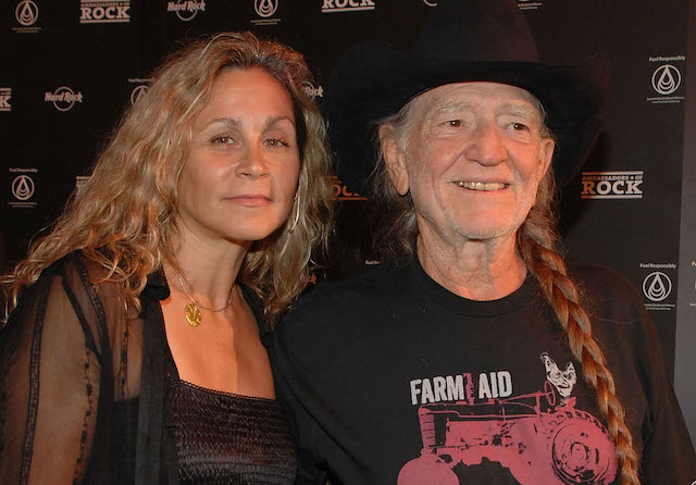 Annie D'Angelo & Willie Nelson arrive on the Green Carpet at the launch of the Sustainable Biodiesel Alliance