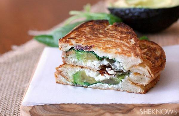 Spinach, goat cheese and avocado grilled