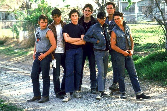 C. Thomas Howell, Ralph Macchio, Patrick Swayze, Tom Cruise, Rob Lowe, Emilio Estevez in The Outsiders