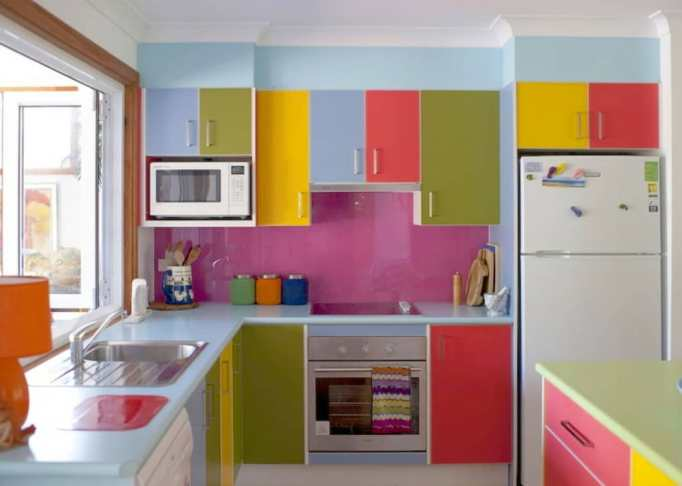 Glossy Color-Blocked Kitchen