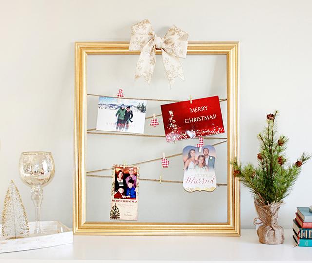 holiday card display DIY in gold frame