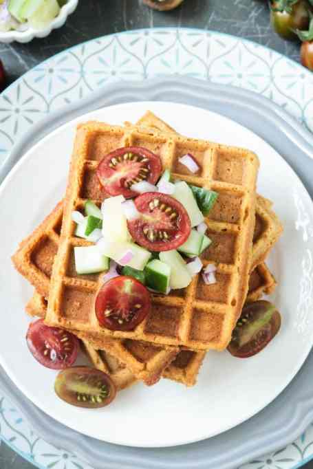 11 Sweet and Savory Waffle Recipes: Corn waffles with pineapple salsa