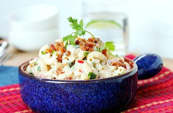 Macaroni salad with bacon and cilantro